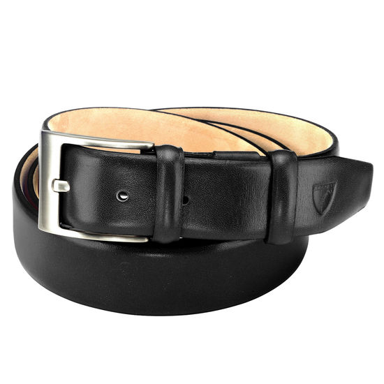 Classic Men's Belt in Smooth Black from Aspinal of London