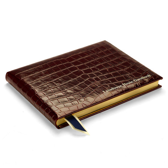 Safari Croc Guest Book in Deep Shine Amazon Brown Croc from Aspinal of London