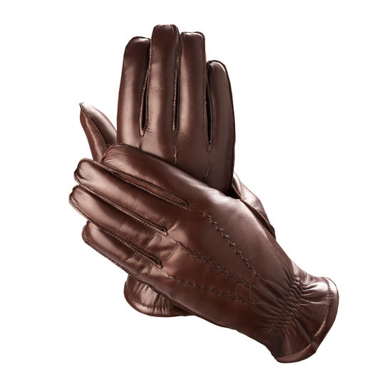 Mens Sheepskin Lined Leather Gloves in Brown Nappa from Aspinal of London