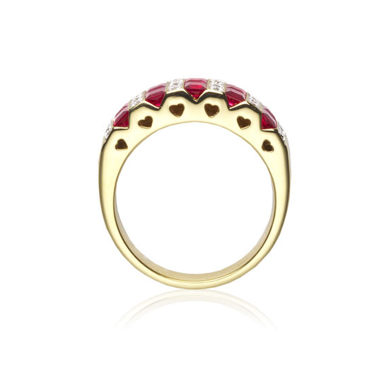 Aspinal Heart Ruby & Diamond Ring from Aspinal of London