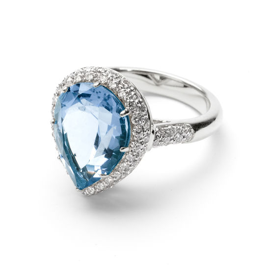 Hollywood Teardrop Blue Topaz & Diamond Ring from Aspinal of London