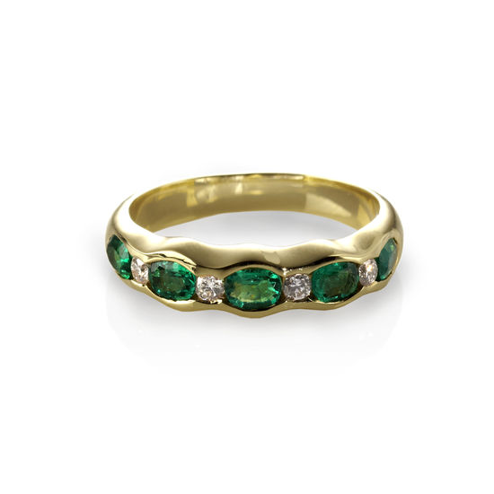 Phoebe Wave Emerald & Diamond Ring from Aspinal of London