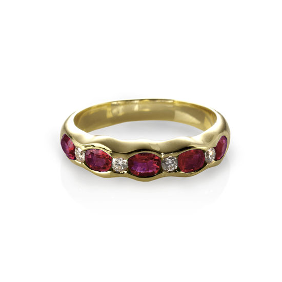Phoebe Wave Ruby & Diamond Ring from Aspinal of London