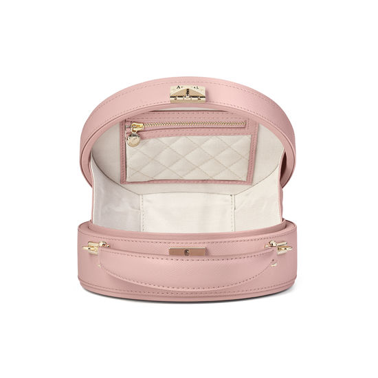 Mini Hat Box Bag in Peony Saffiano from Aspinal of London