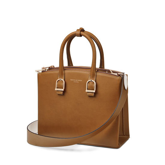 Midi Madison Tote in Smooth Tan from Aspinal of London
