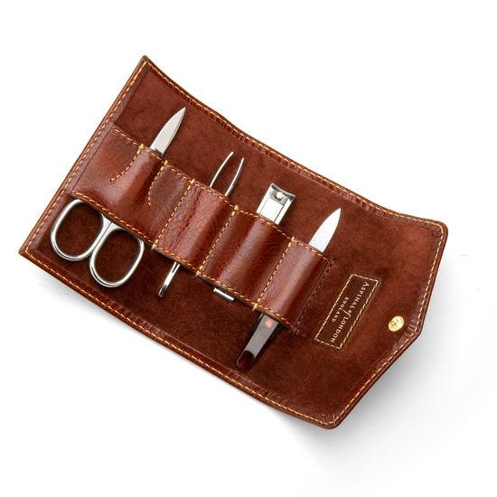 Men's Manicure Set in Smooth Cognac & Espresso Suede from Aspinal of London
