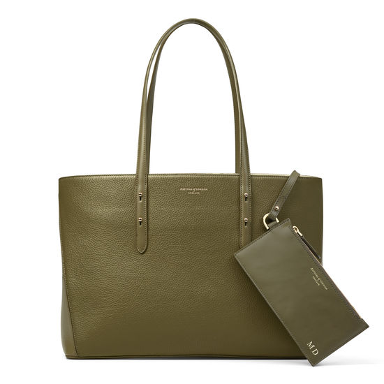 Regent Tote in Olive Pebble (with A-Stitched Side Panels) from Aspinal of London