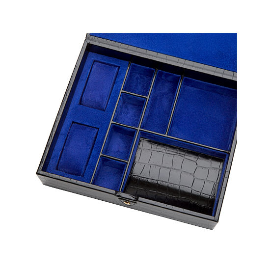 Gents Accessory Case in Deep Shine Black Croc & Cobalt Suede from Aspinal of London