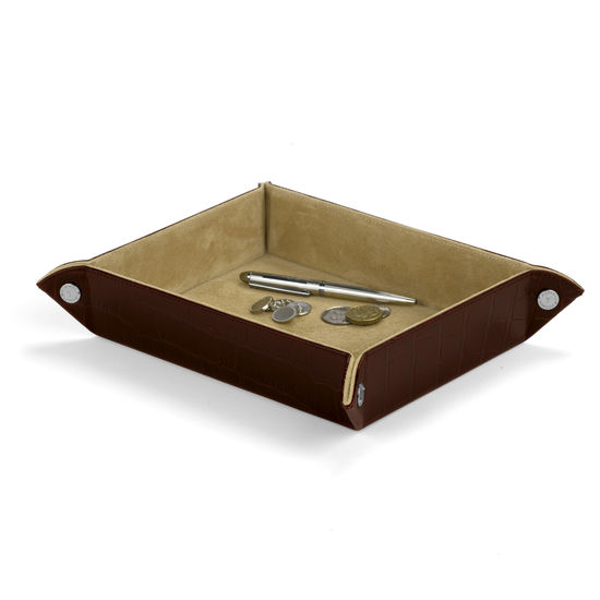 Large Tidy Tray in Deep Shine Amazon Brown Croc & Stone Suede from Aspinal of London