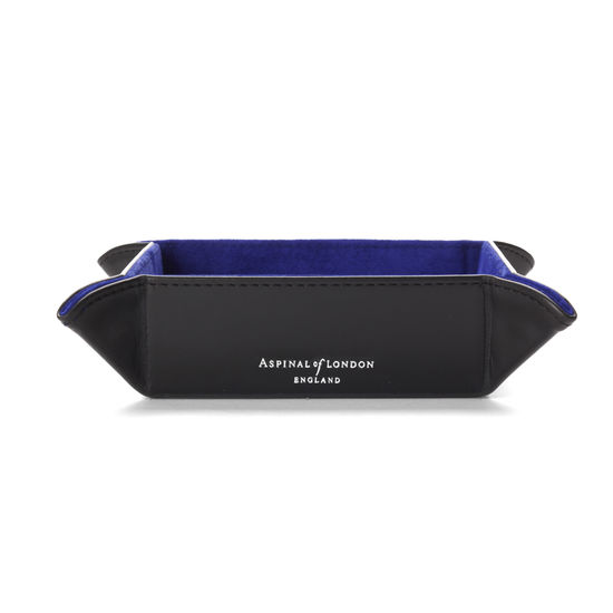 Mini Tidy Tray in Smooth Black & Cobalt Blue Suede from Aspinal of London