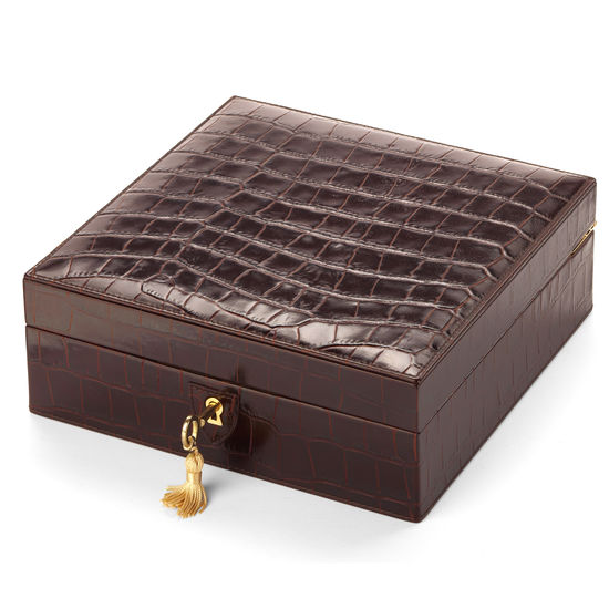 Harrison Square Four Watch Box in Deep Shine Amazon Brown Croc & Stone Suede from Aspinal of London