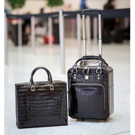 Candy Case in Deep Shine Amazon Brown Croc from Aspinal of London