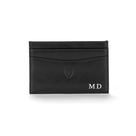 Slim Credit Card Case in Smooth Black & Red Suede from Aspinal of London