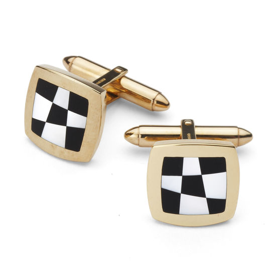 9ct Gold Black Onyx & Mother of Pearl Chequered Cufflinks from Aspinal of London