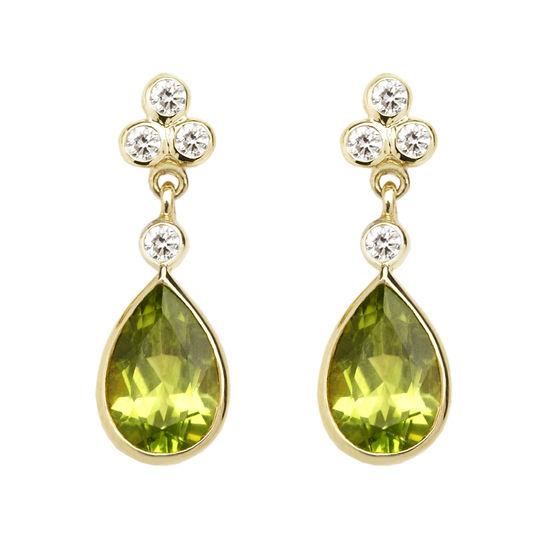 Aphrodite Teardrop Peridot & Diamond Earrings from Aspinal of London