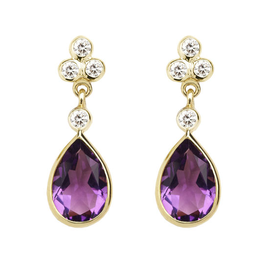 Aphrodite Teardrop Amethyst & Diamond Earrings from Aspinal of London