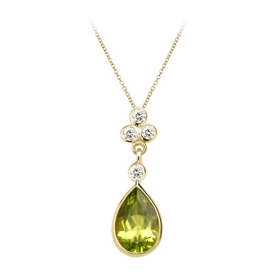 Aphrodite Teardrop Peridot & Diamond Pendant Necklace from Aspinal of London