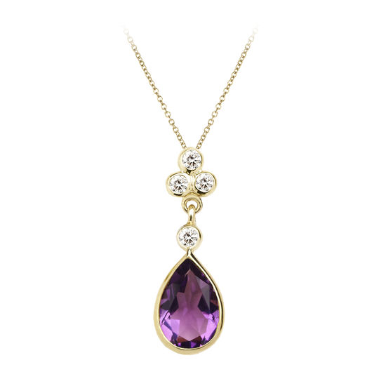 Aphrodite Teardrop Amethyst & Diamond Pendant Necklace from Aspinal of London