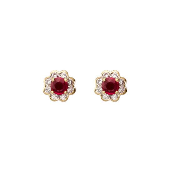 Debutante Ruby & Diamond Stud Earrings from Aspinal of London