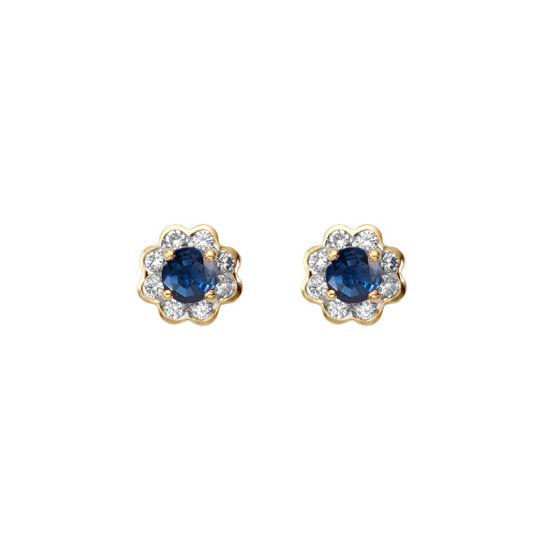 Debutante Sapphire & Diamond Stud Earrings from Aspinal of London