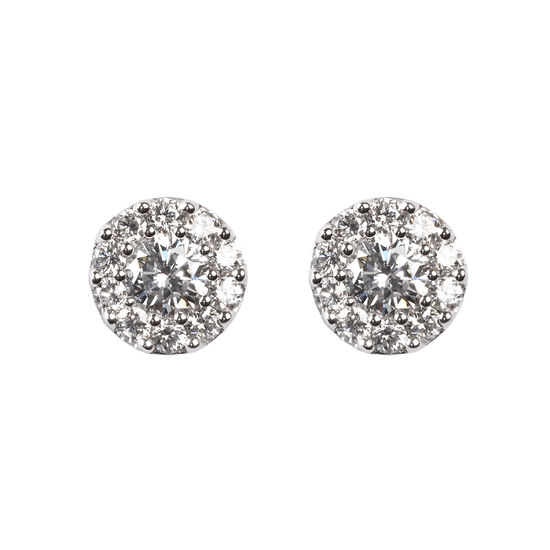 Monaco 1.0ct Diamond Cluster Stud Earrings from Aspinal of London