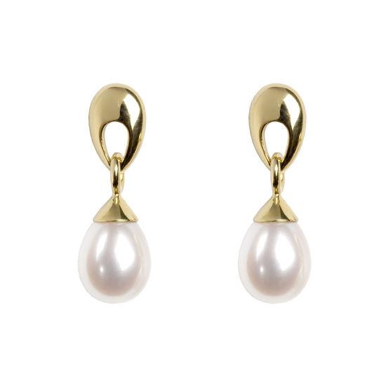 Hampton Teardrop Pearl Earrings in 18ct Yellow Gold from Aspinal of London