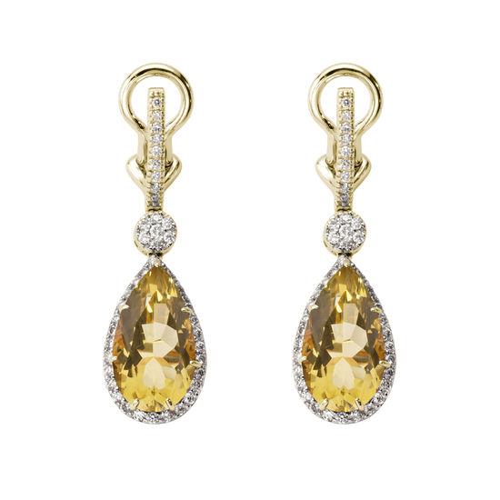 Hollywood Teardrop Lemon Quartz & Diamond Earrings from Aspinal of London