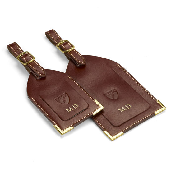 Set of 2 Luggage Tags in Smooth Cognac from Aspinal of London