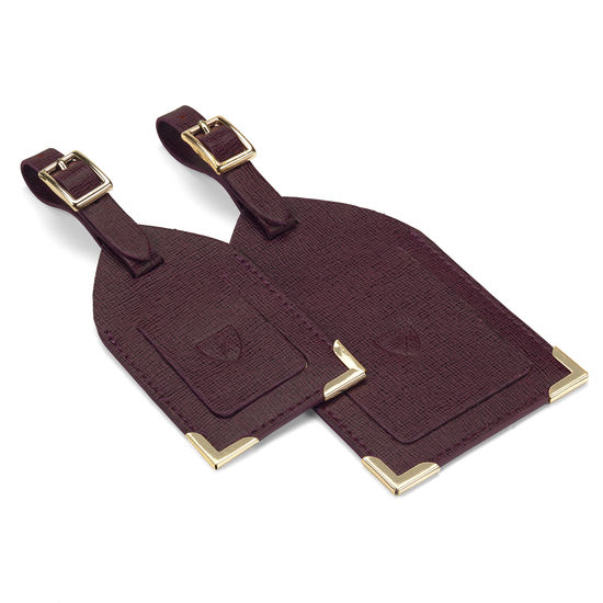 Set of 2 Luggage Tags in Burgundy Saffiano from Aspinal of London