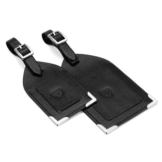 Set of 2 Luggage Tags in Black Saffiano from Aspinal of London