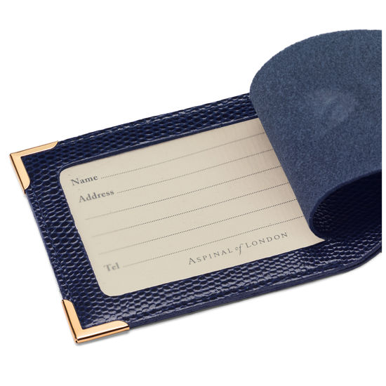 Set of 2 Luggage Tags in Midnight Blue Lizard from Aspinal of London