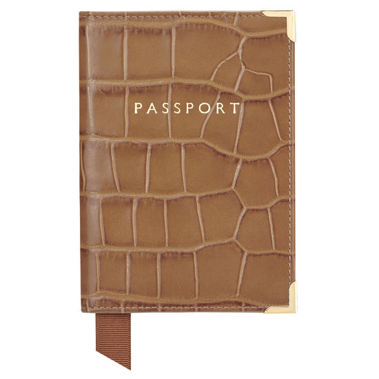 Passport Cover in Deep Shine Vintage Tan Croc & Cappuccino Suede from Aspinal of London