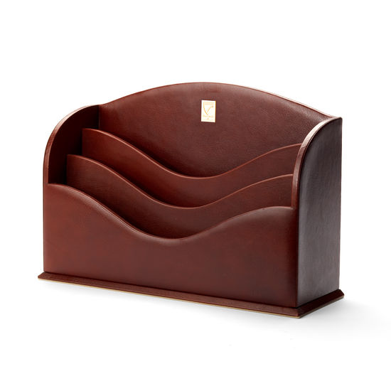 Stationery Rack in Smooth Cognac & Stone Suede from Aspinal of London