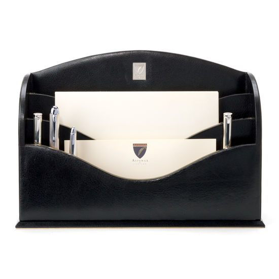 Stationery Rack in Smooth Black & Stone Suede from Aspinal of London