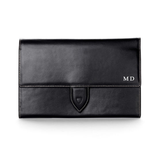 Deluxe Travel Wallet in Smooth Black & Cobalt Suede from Aspinal of London