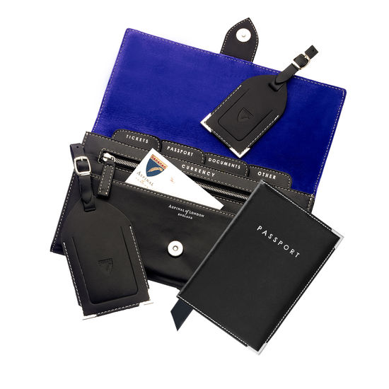 Deluxe Travel Collection in Smooth Black & Cobalt Blue Suede from Aspinal of London
