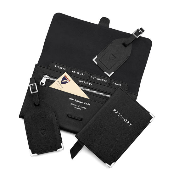 Classic Travel Collection in Black Saffiano & Black Suede from Aspinal of London