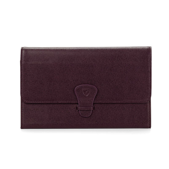 Classic Travel Collection in Burgundy Saffiano & Navy Suede from Aspinal of London