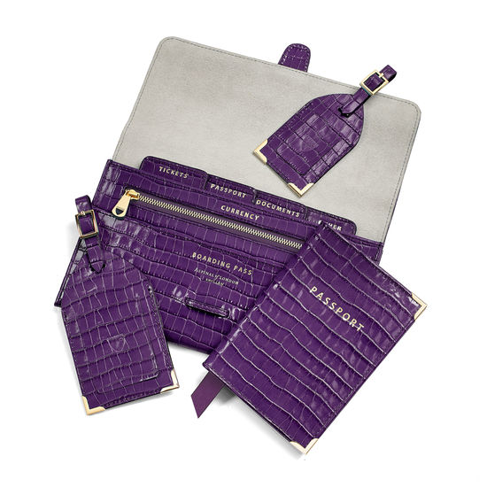 Classic Travel Collection in Deep Shine Amethyst Small Croc from Aspinal of London