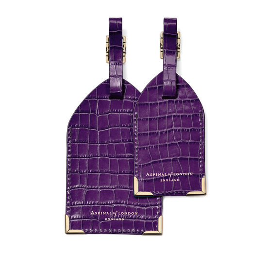 Set of 2 Luggage Tags in Deep Shine Amethyst Small Croc from Aspinal of London