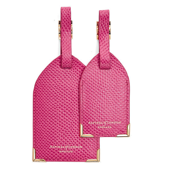 Set of 2 Luggage Tags in Raspberry Lizard from Aspinal of London