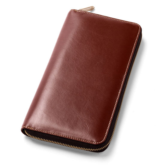 Zipped Travel Wallet with Passport Cover in Smooth Cognac & Stone Suede from Aspinal of London