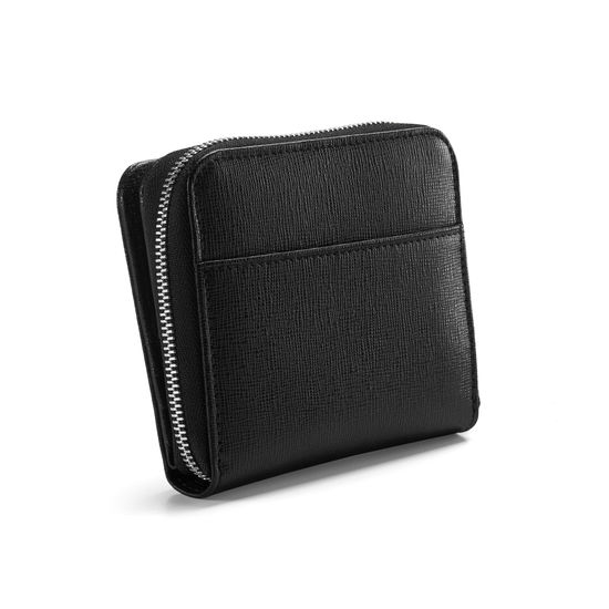 Mini Continental Zipped Coin Purse in Black Saffiano from Aspinal of London