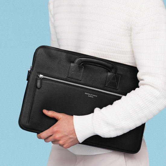Connaught Document Case in Black Saffiano from Aspinal of London