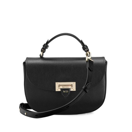 Letterbox Saddle Bag in Black Pebble from Aspinal of London