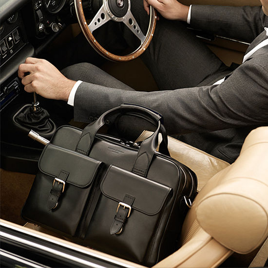 Harrison Overnight Business Bag in Smooth Black from Aspinal of London