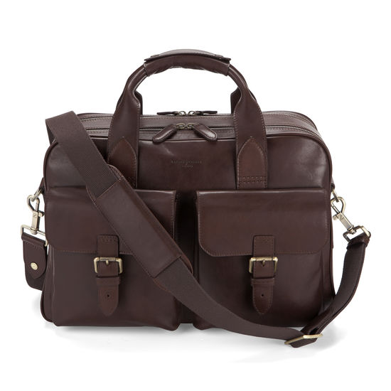 Harrison Overnight Business Bag in Smooth Chocolate Brown from Aspinal of London