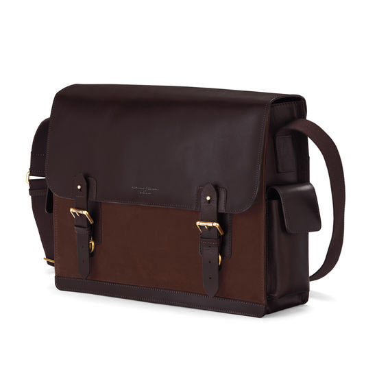 Large Shadow Messenger in Brown Nubuck from Aspinal of London