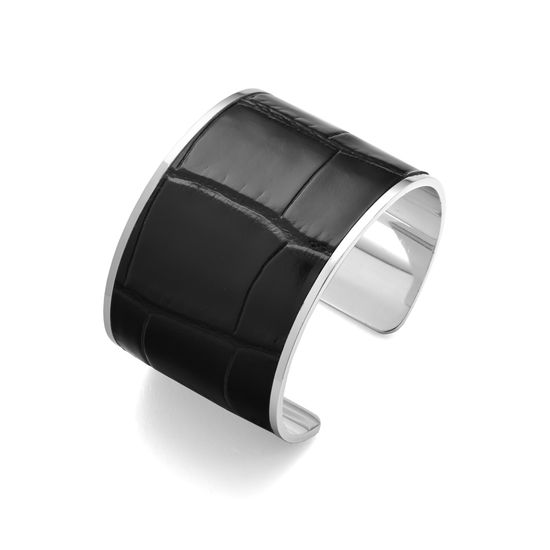 Silver Cleopatra Cuff Bracelet in Deep Shine Black Croc from Aspinal of London