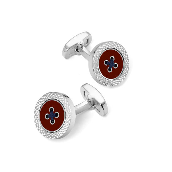 Sterling Silver Plated Engraved Edge Button Cufflinks in Red Enamel from Aspinal of London